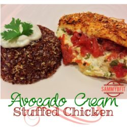 Avocado Cream Stuffed Chicken | http://withpeantubutterontop.com