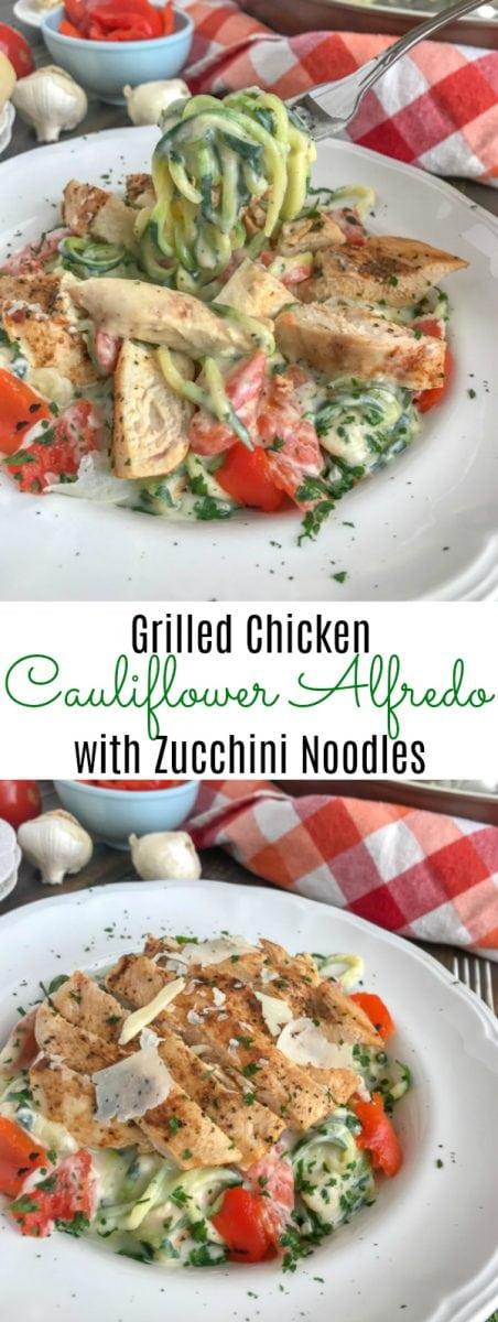 Grilled Chicken Cauliflower Alfredo with Zucchini Noodles | https://withpeanutbutterontop.comGrilled Chicken Cauliflower Alfredo with Zucchini Noodles - | https://withpeanutbutterontop.com