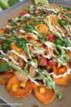 Loaded Sweet Potato Nachos with Homemade Sweet Potato Chips | www.withpeanutbutterontop.com