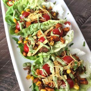 Southwest Style Sweet Potato Taco Lettuce Wraps   www.withpeanutbutterontop.com