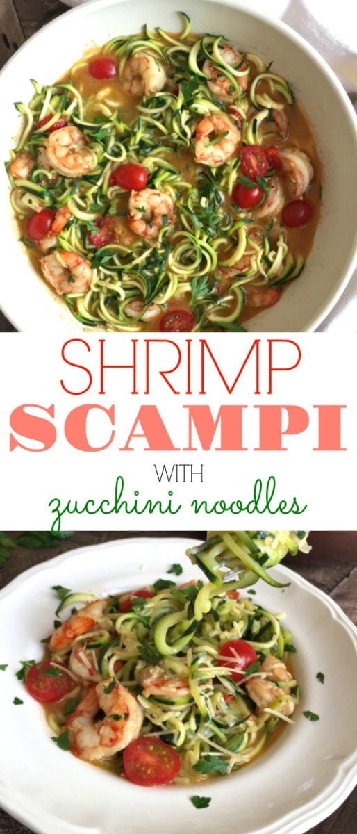 hrimp Scampi with Zoodles - a lightened, low-carb, wine-free version of a delicious traditional dish. And under 300 calories per serving! #scampi #shrimpscampi #shrimp #zoodles #zucchininoodles #lowcarb #lowcalorie | https://withpeanutbutterontop.com