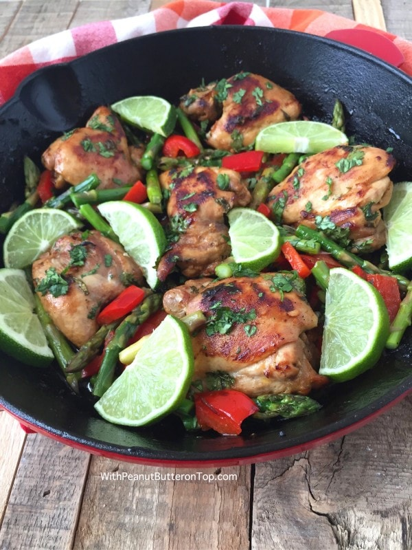 One Pan Cilantro Lime Chicken Thighs  -  simple to make, healthy, bursting with flavor and absolutely delicious! Great for your weekly meal prep or as an addition to any wraps, salads, or sandwiches! #healthy #chickenthighs #onepan #cilantrolime | https://withpeanutbutterontop.com
