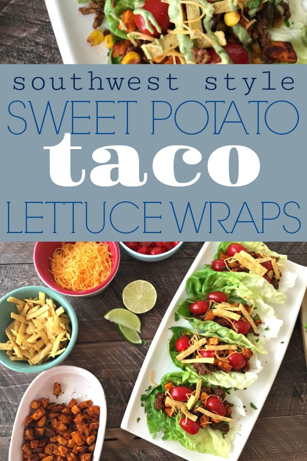 Southwest Style Sweet Potato Taco Lettuce Wraps-a wonderful lower-carb, diet friendly recipe, packed full of flavor and spice- without the guilt. And only 177caloriesper wrap! #salad #wraps #tacowraps #lettucewraps #healthy #lowcarb | https://withpeanutbutterontop.com