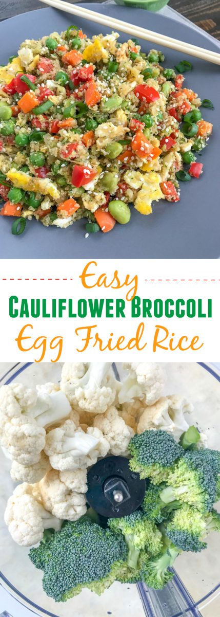 Easy Cauliflower Broccoli Egg Fried Rice - a restaurant-style inspired recipe, but on the healthy side! Made with cauliflower and broccoli in replacement of rice. Only 233 calories per serving! Very easy to make, minimal ingredients, and can be on your table in 15-minutes. Fulfill that comfort food lover in you, but without the guilt! #healthy #cauliflower #cauliflowerrice #friedrice #chinese | www.withpeanutbutterontop.com