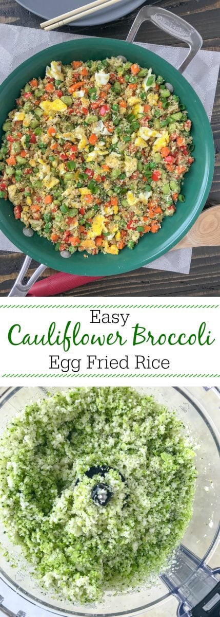 Easy Cauliflower Broccoli Egg Fried Rice - a restaurant-style inspired recipe, but on the healthy side! Made with cauliflower and broccoli inreplacement of rice. Only 233 calories per serving! Very easy to make, minimal ingredients, and can be on your table in 15-minutes. Fulfill that comfort food lover in you, but without the guilt! #healthy #cauliflower #cauliflowerrice #friedrice #chinese #chinesefood | www.withpeanutbutterontop.com