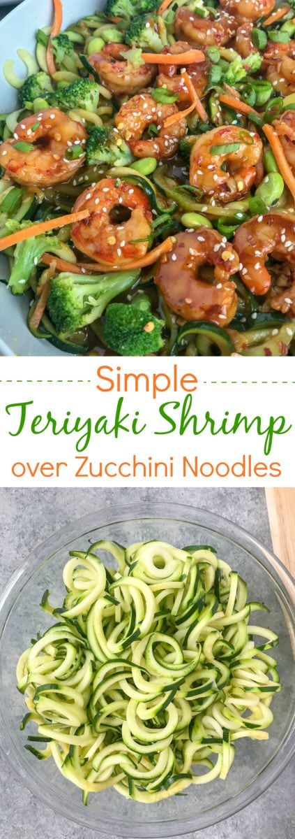 Simple Teriyaki Shrimp over Zucchini Noodles - this recipe is made with a homemade teriyaki sauce and served over zucchini noodles. Making for an easy, healthy and extremely delicious dinner option that can be on your table in 30 minutes! #shrimp #teriyaki #easy #healthy #shrimpteriyaki #zoodles #zucchininoodles | www.withpeanutbutterontop.com
