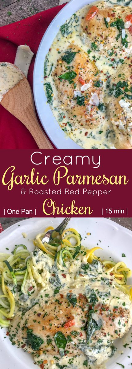 Creamy Garlic Parmesan and Roasted Red Pepper Chicken - a one-pan, easy-to-make comforting recipe that will give you all the warm fuzzy, content feelings. The chicken is pan-seared and combined in a delicious, creamy sauce combining all the perfect flavors of parmesan cheese, spinach, roasted red peppers, and garlic. #dinner #chicken #onepanmeals | https://withpeanutbutterontop.com
