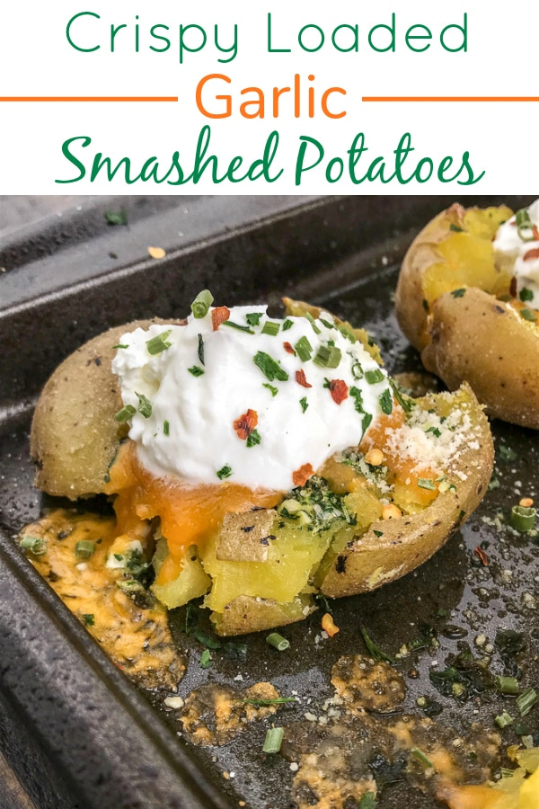 Crispy Loaded Garlic Smashed Potatoes - potatoes baked with garlic, parsley, onion powder, parmesan cheese and butter. Better than the traditional baked potato, easy to make, and truly the best way to serve potatoes if they are not in fry form! #potatoes #easy #sidedish #dinner   https://withpeanutbutterontop.com