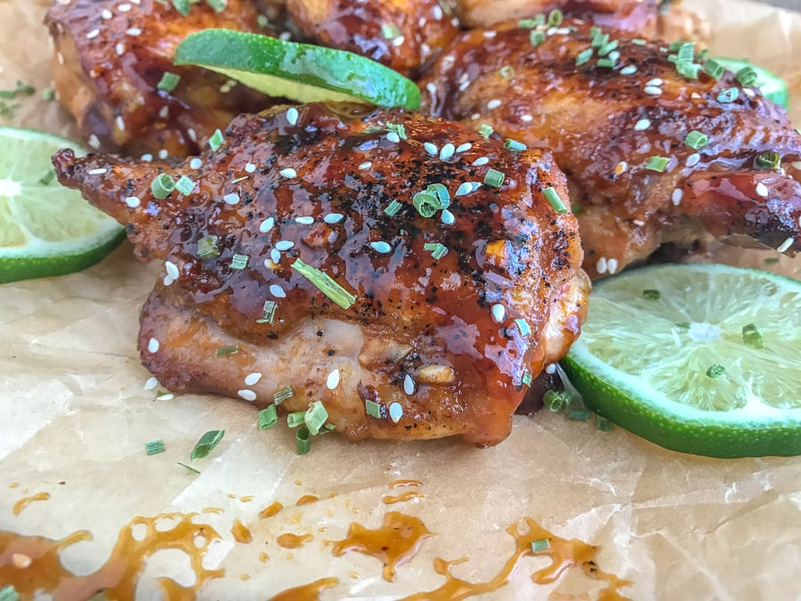 Easy One-Pan Honey Garlic Lime Chicken - this recipe uses only one skillet and is the perfect meal if you're craving something sweet, yet savory! Sticky, sweet, with a hint of that savory factor that will cater to your taste buds. Minimal ingredients and very easy to make. #honeygarliclime #chicken #dinner #chickenthighs #onepan #easy | https://withpeanutbutterontop.com