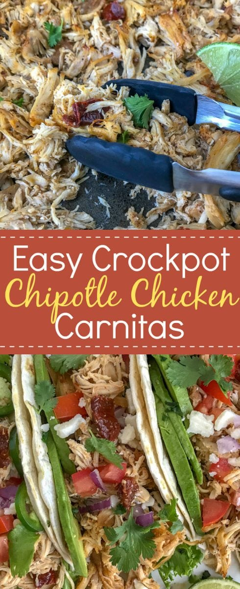 Crockpot Chipotle Chicken Carnitas - a healthier take on the traditional pork carnitas that we all know and absolutely adore! Perfect for on-the-go individuals, for parties, and an easy option for your weekly meal prep! #carnitas #slowcooker #crockpot #mexican #cincodemayo https://withpeanutbutterontop.com