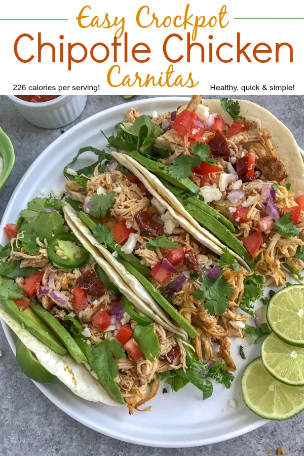 Crockpot ChipotleChicken Carnitas - a healthier take on the traditional pork carnitas that we all know and absolutely adore! Perfect for on-the-go individuals, for parties, and an easy option for your weekly meal prep! #carnitas #slowcooker #crockpot #mexican #cincodemayo https://withpeanutbutterontop.com