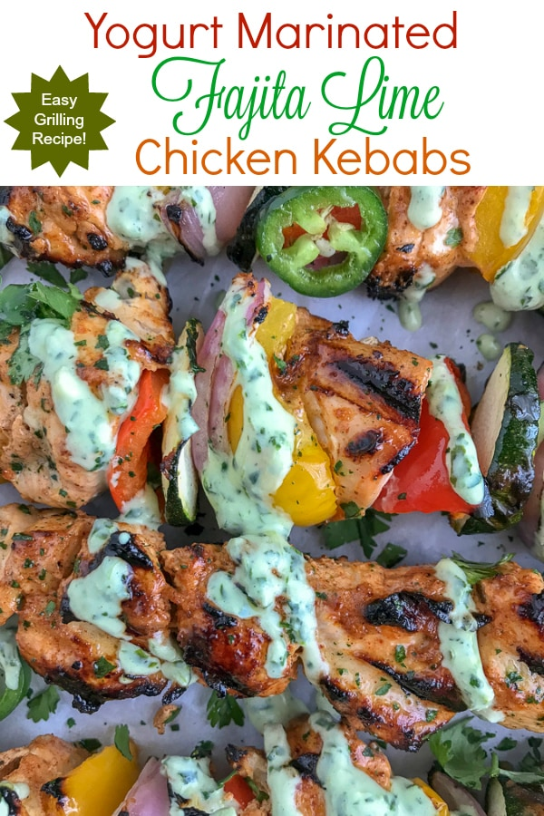Yogurt Marinated Fajita Lime Chicken Kebabs - an easy, skinny and flavorful version of kebabs. Crisp on the outside, tender and juice on the inside. #chickenkebabs #grilled #grill | https://withpeanutbutterontop.com