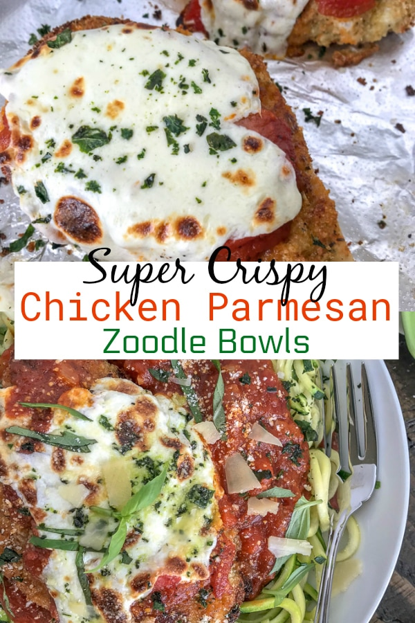 Crispy Baked Chicken Parmesan Zucchini Bowls - incredibly delicious chicken that is super tender on the inside, yet crispy on the outside. Served over cooked zucchini noodles to make for a lower-carb, light and healthy meal.#chickenparmesan #zoodles #healthy #lowcarb | https://withpeanutbutterontop.com