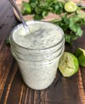 Creamy Cilantro Lime Sauce - super easy and absolutely delicious! Perfect for grilled meats and vegetables or on a salad! #sauce #dressing #cilantrolime #tacos #tacotuesday | https://withpeanutbutterontop.com