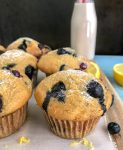 Lemon Blueberry Yogurt Muffins - the perfect, simple, and delicious muffin for breakfast or grab-n-go snacks! #lemonblueberry #muffins #breakfast #snacks | https://withpeanutbutterontop.com