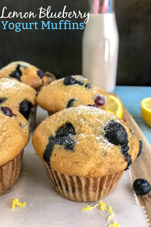 Lemon Blueberry Yogurt Muffins - the perfect, simple, and delicious muffin for breakfast or grab-n-go snacks! #lemonblueberry #muffins #breakfast #snacks   https://withpeanutbutterontop.com