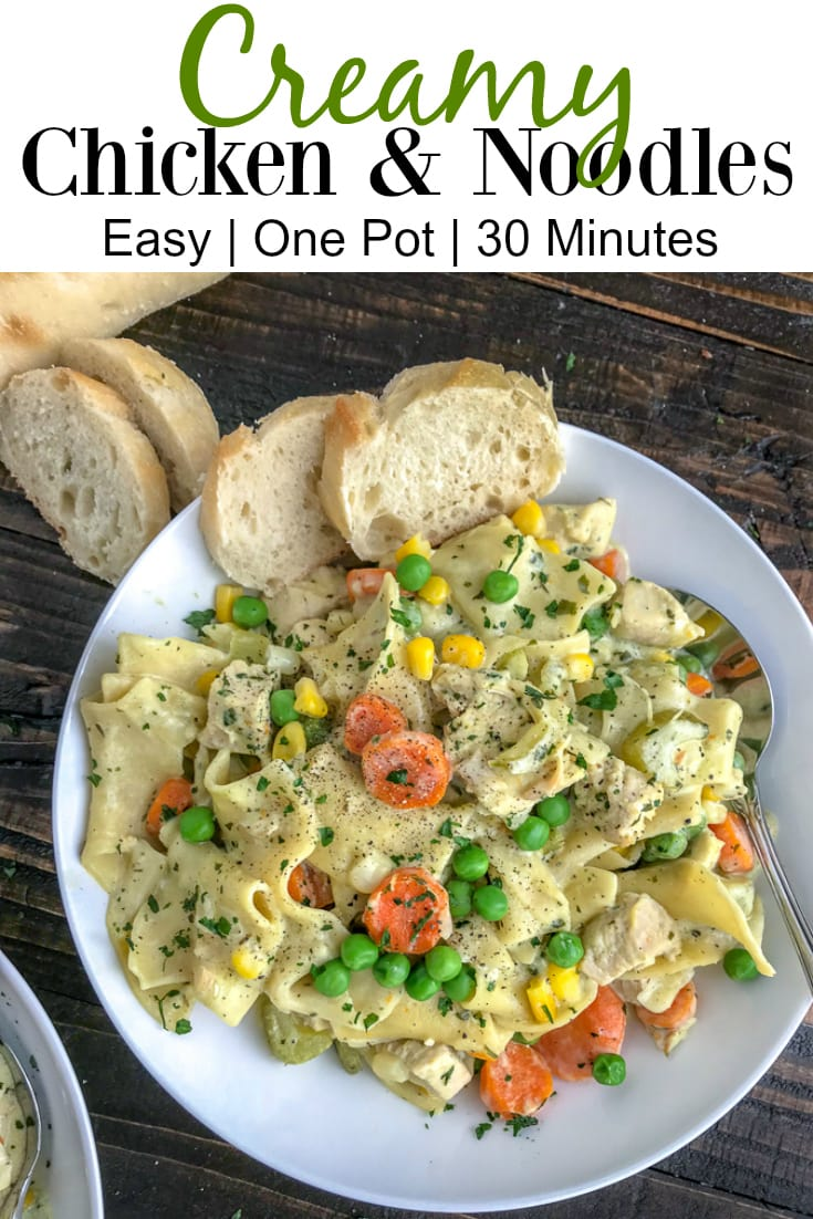 Easy One Pot Creamy Chicken and Noodles - the perfect classic comfort dish that contains delicious, creamy pasta, and is packed not just full of flavor, but vegetables as well! Guaranteed to be a family favorite! #easydinners #onepot #onepotmeals #easy #creamychickenandnoodles   https://withpeanutbutterontop.com