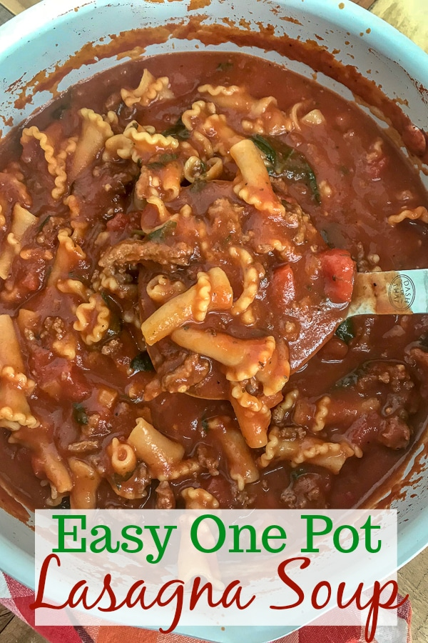 Easy One Pot Lasagna Soup - a delightful twist on a comforting dish. Guaranteed to become a family favorite as it tastes just like lasagna, but requires no layering or baking. Just ONE pot! Bursting with flavor, full of noodles and cheese, and Italian spices. #lasagna #lasagnasoup #soup #onepot #onepotmeals | https://withpeanutbutterontop.com