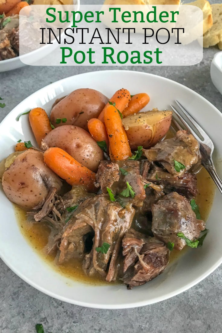 Super Tender Instant Pot Pot Roast - a classic family favorite made super simple and quick using the Instant Pot! Pot roast so tender the meat simply falls apart. #instantpot #potroast #dinner #simple   https://withpeanutbutterontop.com