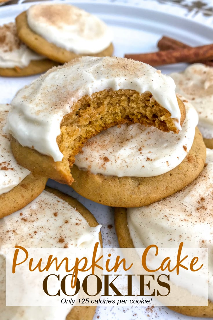 Pumpkin Cake Cookies with Homemade Cream Cheese Frosting - soft, fluffy, and tastes like mix between a cookie and cake! So delicious you will have a hard time just having one! #cookies #pumpkin #pumpkincookies #dessert | https://withpeanutbutterontop.com