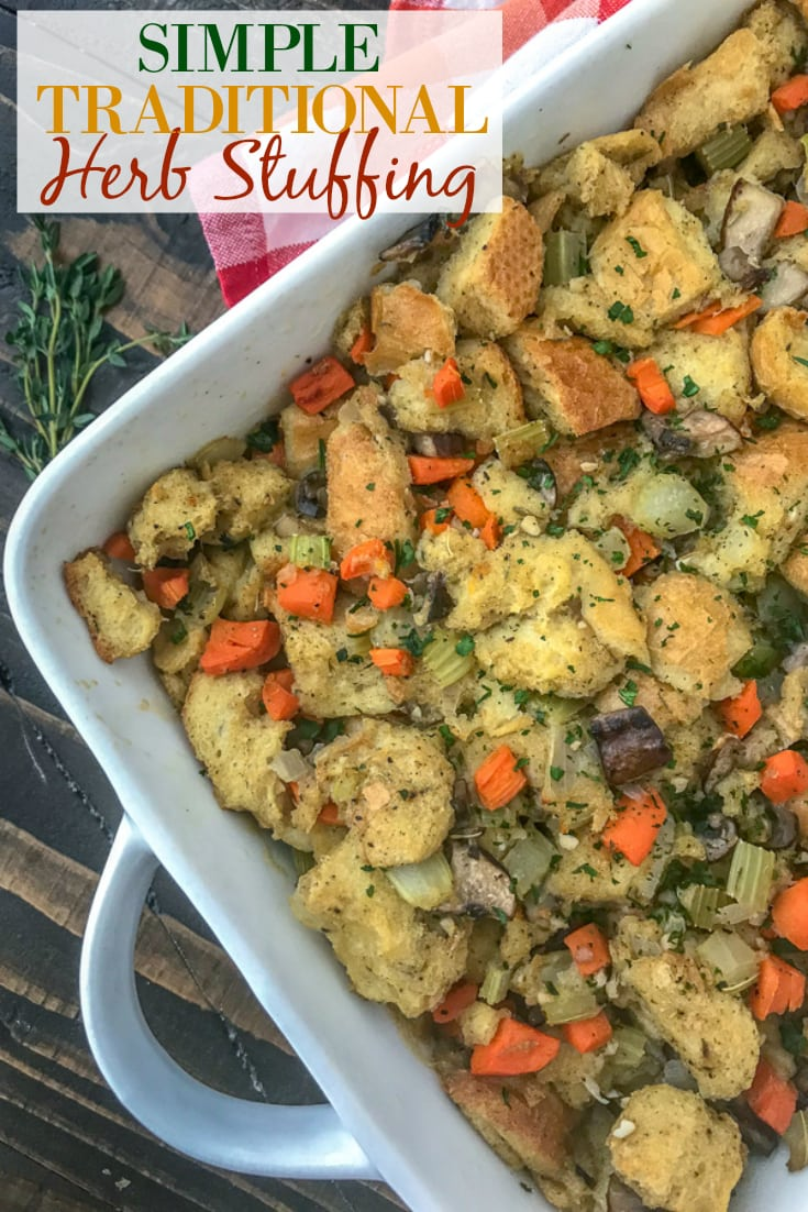 Simple and Healthy Thanksgiving Stuffing - traditional herb stuffing lightened up a bit and packed full of flavorful herbs and vegetables! Sure to be a hit on any Thanksgiving or Friendsgiving table! #stuffing #thanksgivingstuffing #thanksgiving #friendsgiving | https://withpeanutbutterontop.com