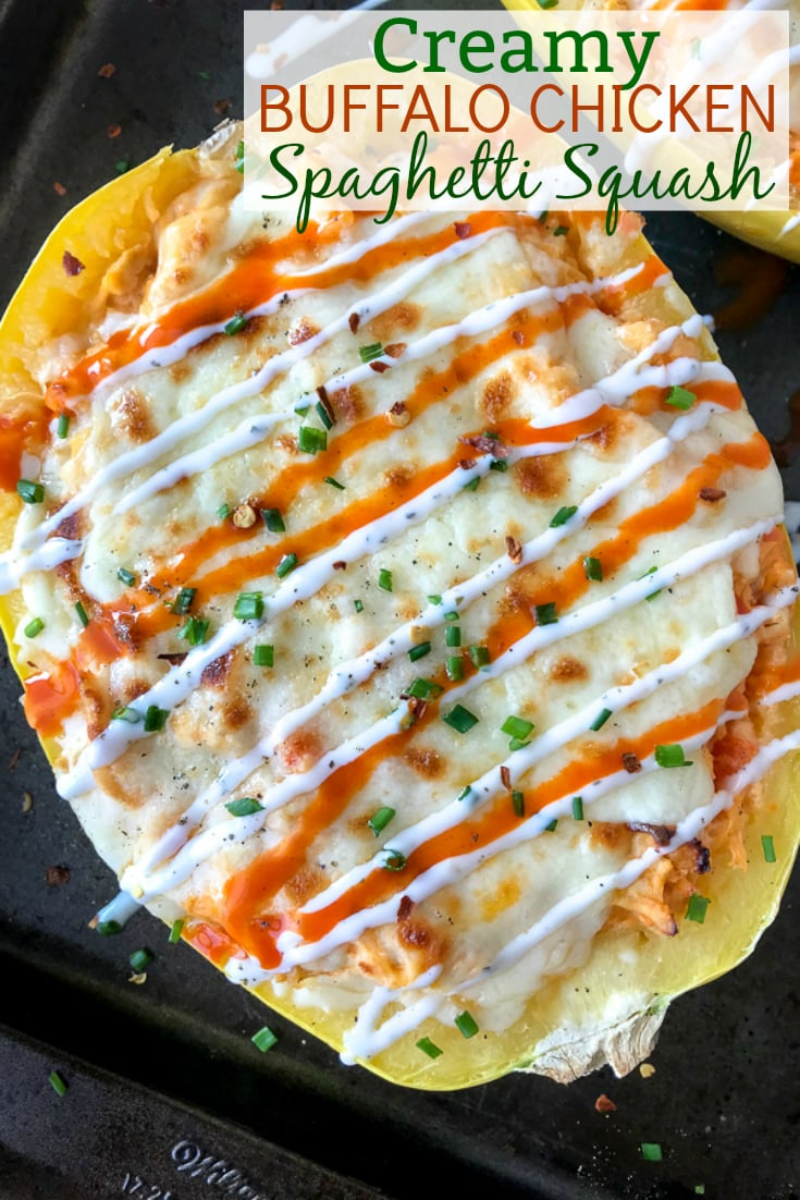 Creamy Buffalo Chicken Stuffed Spaghetti Squash - if you're a buffalo chicken and pasta fan, but are trying to cut back on the carbs - you are going to love this recipe! Spaghetti squash stuffed with shredded chicken, cheeses, sautéed peppers and onions, and a creamy buffalo sauce. Guaranteed to become a repeat meal! #buffalochicken #stuffedspaghettisquash #lowcarb   https://withpeanutbutterontop.com