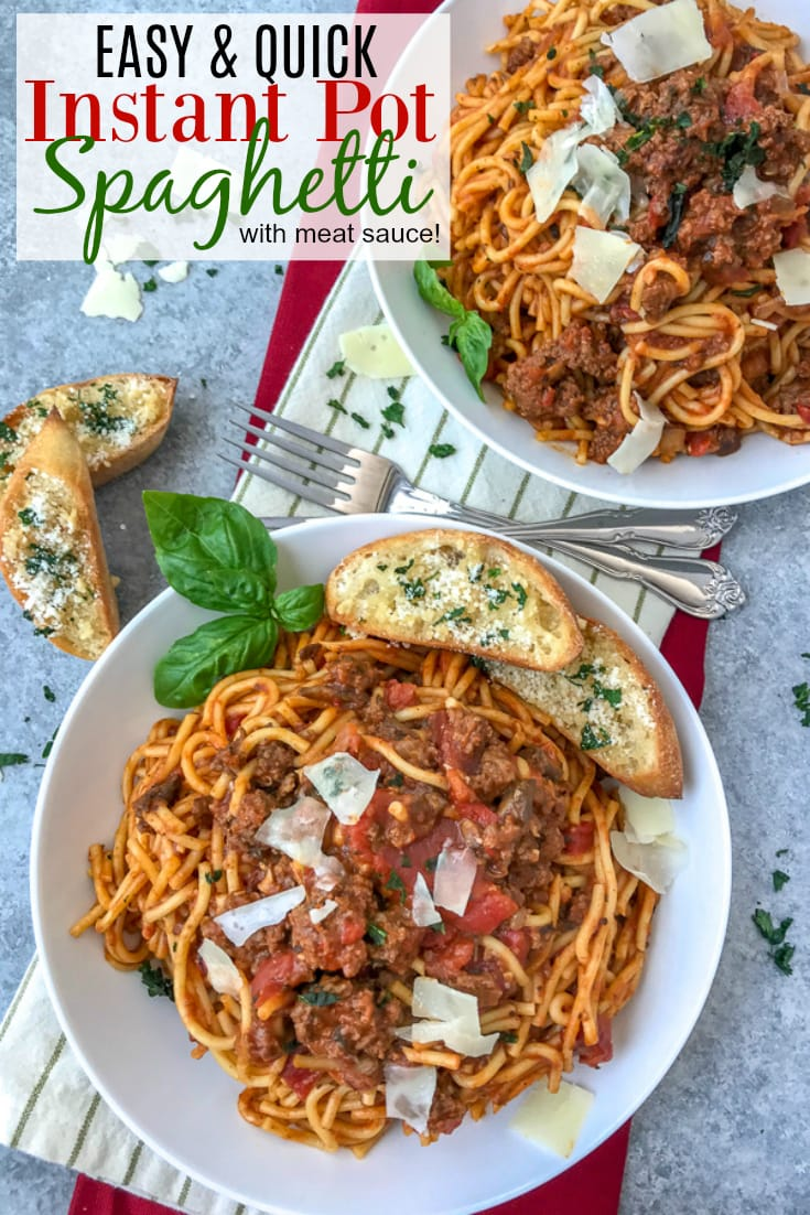 Easy Instant Pot Spaghetti - a super simple and flavorful spaghetti that comes together in about 30 minutes in one pot: meat, pasta, marinara and all! #easyrecipes #dinners #instantpot #spaghetti   https://withpeanutbutterontop.com