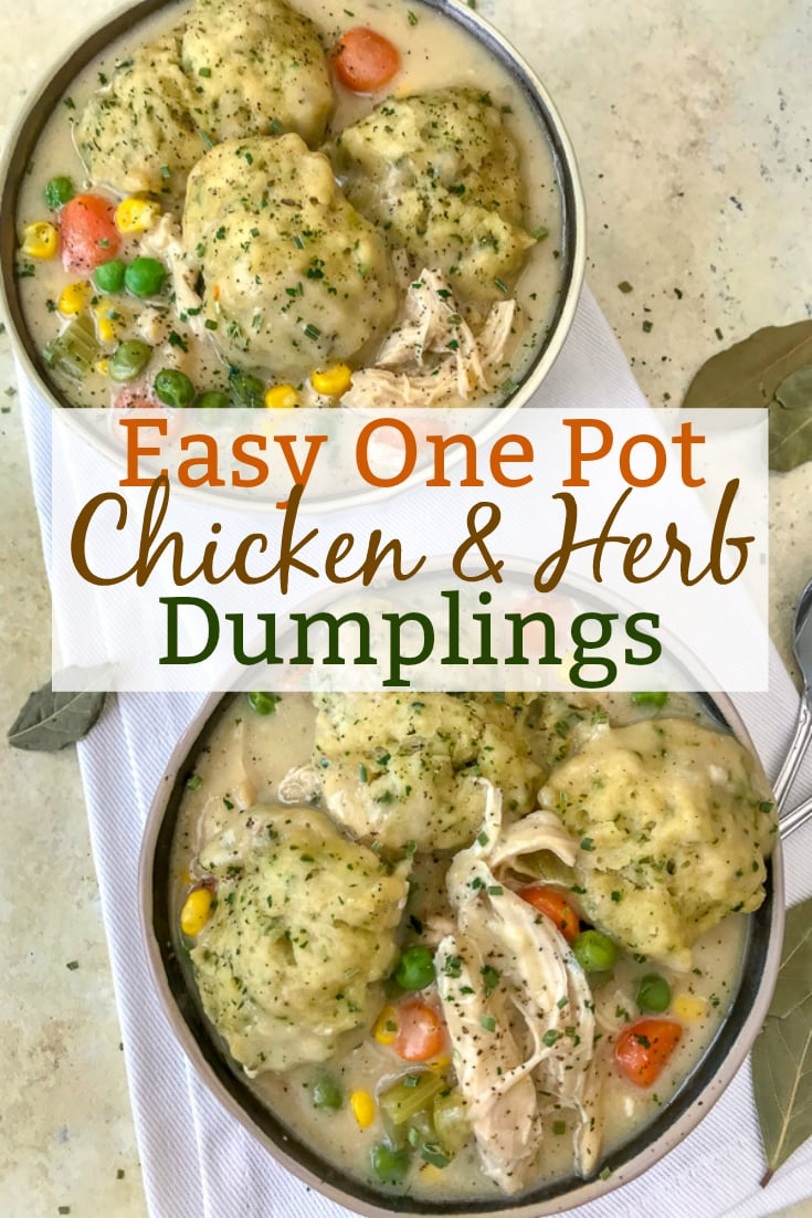 Easy One Pot Chicken and Herb Dumplings - the ultimate comfort dish, but lightened up!! Full of flavor, vegetables, and tender, juicy chicken topped with fluffy butter-herb dumplings! A keeper!! #soup #onepotmeals #chickenanddumplings | https://withpeanutbutterontop.com