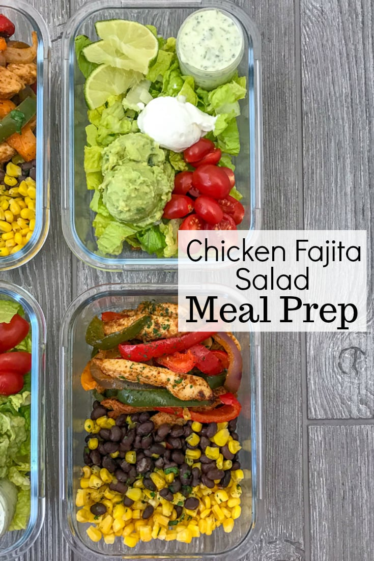 Chicken Fajita Salad Meal Prep - step up your meal prep game with this super easy fajita recipe! Chicken breast strips, bell peppers and onions - all tossed in olive oil and a delicious fajita seasoning. Serve cold or warm over a salad with greek yogurt, tomatoes, an avocado mash, and my Creamy Cilantro Lime Sauce! #mealprep #chickenfajitas #sheetpanrecipes #sheetpan #easyrecipes #healthyrecipes   https://withpeanutbutterontop.com