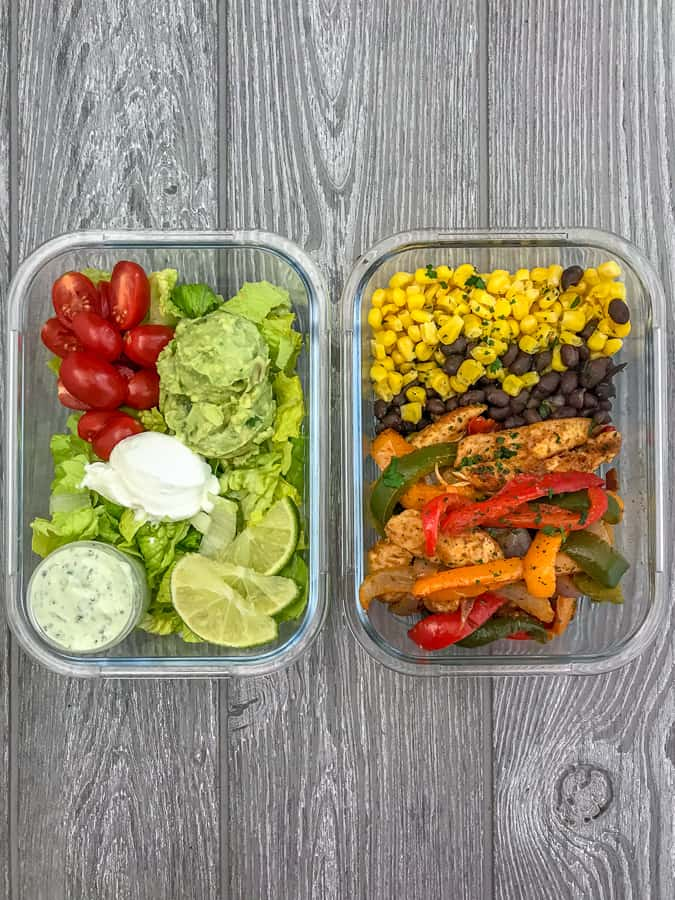 Chicken Fajita Salad Meal Prep - step up your meal prep game with this super easy fajita recipe! Chicken breast strips, bell peppers and onions - all tossed in olive oil and a delicious fajita seasoning. Serve cold or warm over a salad with greek yogurt, tomatoes, an avocado mash, and my Creamy Cilantro Lime Sauce! #mealprep #chickenfajitas #sheetpanrecipes #sheetpan #easyrecipes #healthyrecipes | https://withpeanutbutterontop.com