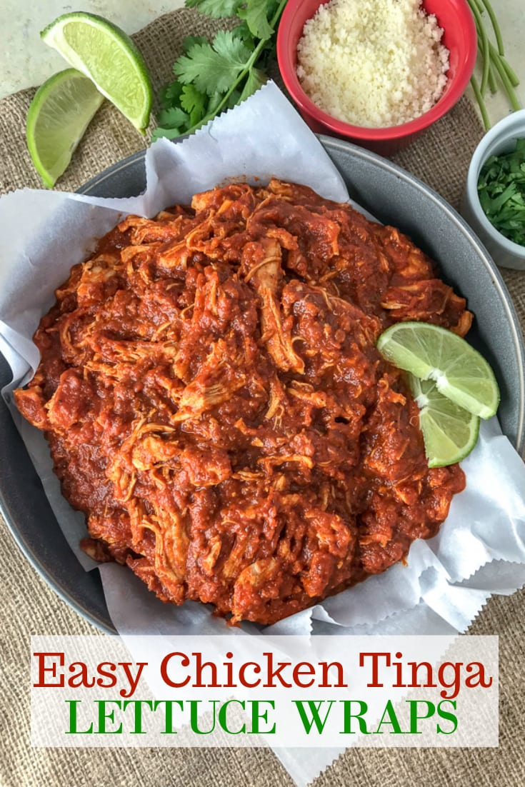 Chicken Tinga made with shredded chicken, tomato sauce, fire roasted tomatoes, and chipotle chilis in adobo. Comes together in 20 minutes, is full of bold flavor, and is great in lettuce wraps and as a #MealPrep lunch! #chickentinga #chicken #easyrecipes #healthy #lunch #dinner | https://withpeanutbutterontop.com