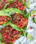Chicken Tinga made with shredded chicken, tomato sauce, fire roasted tomatoes, and chipotle chilis in adobo. Comes together in 20 minutes, is full of bold flavor, and is great in lettuce wraps and as a #MealPrep lunch! #chickentinga #chicken #easyrecipes #healthy #lunch #dinner   https://withpeanutbutterontop.com
