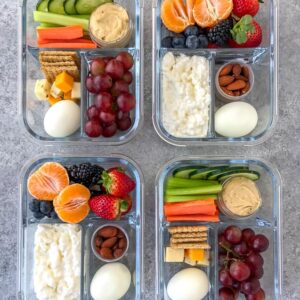 Cold Protein Packed Bistro Box - learn how to make your own snack boxes -easily and quickly! These two option bistro boxes comes together in minutes and are perfect as a post-workout snack, for meal prepped lunches, or if you live life on the go! #mealprep #protein #bistrobox #snackbox #postworkoutmeals | https://withpeanutbutterontop.com