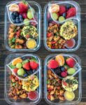 Egg Muffin Breakfast Meal Prep - stay in bed and catch your Zzzz's and have a healthy and filling breakfast ready to go all week with this meal prep option! Egg Muffins - done three ways, Sheet Pan Breakfast Potatoes, and a delicious side of fruit for that early morning sweet tooth! #mealprep #breakfastmealprep #breakfast #eggmuffins | https://withpeanutbutterontop.com