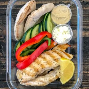 Grilled Chicken and Hummus Meal Prep - a great hot or cold meal prep option that comes together quickly and effortlessly! A healthy lunch or post-workout meal option! Great for school lunches, too! #lunch #mealprep #healthy | https://withpeanutbutterontop.com