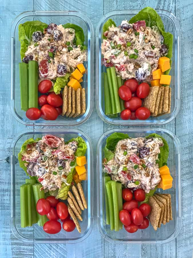 Healthy Garden Chicken Salad Meal Prep With Peanut Butter On Top