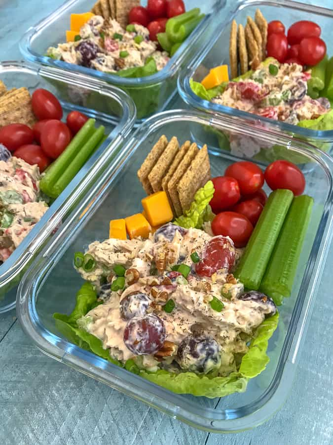 Healthy Garden Chicken Salad Meal Prep - super simple and super flavorful chicken salad lightened up! Full of vegetables, grapes, pecans, and flavor. Perfect for meal prepping and a quick lunch or snack option. #chickensalad #healthychickensalad #mealprep #lunch #salad   https://withpeanutbutterontop.com
