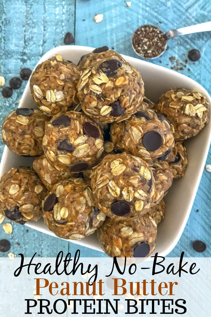 Healthy No-Bake Peanut Butter Protein Bites - delicious, easy to make protein bites that are loaded with old fashioned oats, creamy peanut butter, and flax seeds! Sweetened to perfection with honey and chocolate chips. Perfect prep ahead option for a breakfast or snack on-the-go! #proteinbites #peanutbutter #nobake   https://withpeanutbutterontop.com