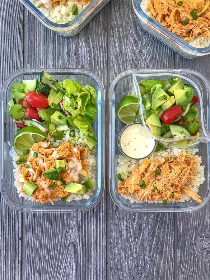 Instant Pot Buffalo Chicken Meal Prep - add this super simple and fast 10-minute buffalo chicken recipe to your weekly meal prep! Low-carb, packed with veggies, and absolutely delicious! #mealprep #lowcarb #lowcarbmealprep #instantpot #buffalochicken | https://withpeanutbutterontop.com