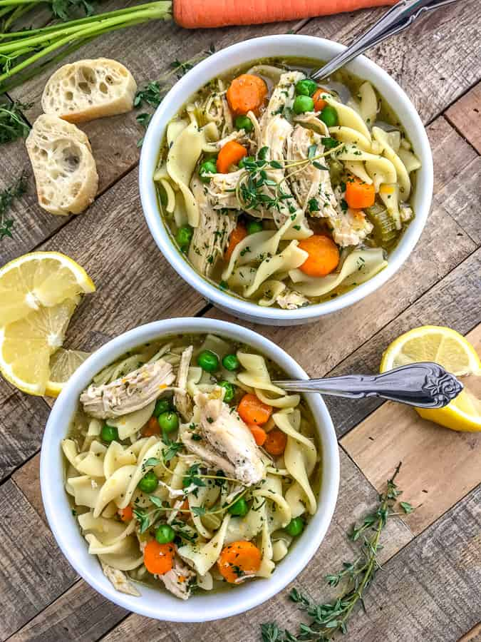Instant Pot Chicken Noodle Soup - oh so comforting soup that is very easy to make, comes together in the Instant Pot and has a ton of flavor! This is the perfect healthy meal for a cold winter day. Loaded with tender chicken, vegetables, and noodles!