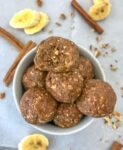 No-Bake Banana Bread Bites - easy, delicious and nutritious! The perfect make-ahead snack or treat to help you curb your sweet tooth! #bananabread #energyballs #nobake #oatmealballs   https://withpeanutbutterontop.com