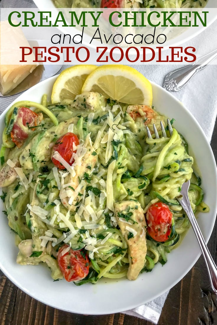 Creamy Chicken and Avocado Pesto Zoodles - a super creamy, easy, and healthy meal option that comes together in 30 minutes! Low-carb, low-calorie, high in healthy fats - this recipe is the ultimate comfort dish without the guilt. #lowcarb #zucchininoodles #zoodles #avocado | https://withpeanutbutterontop.com