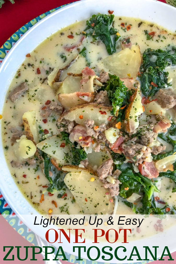 Make one of Olive Garden's most popular soups, but at home and on a healthier, lighter note! This soup is rich, creamy and full of flavor. You won't be able to tell that it's not from Olive Garden! Filled with tender potatoes, bacon, turkey sausage and kale, this soup is perfect for these cold wintery days! #olivegarden #zuppatoscana #soup #onepot | https://withpeanutbutterontop.com