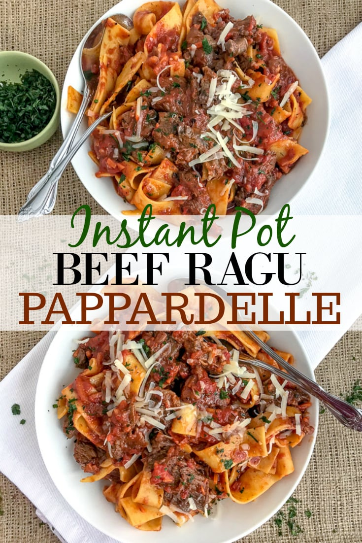 Fall apart tender, shredded beef in a rich, fire-roasted tomato sauce that is tossed with pappardelle pasta and topped with freshly grated parmesan cheese. The ultimate comfort dish made easily in your Instant Pot! #ragu #pappardelle #instantpot #comfortfood #easyrecipes | https://withpeanutbutterontop.com
