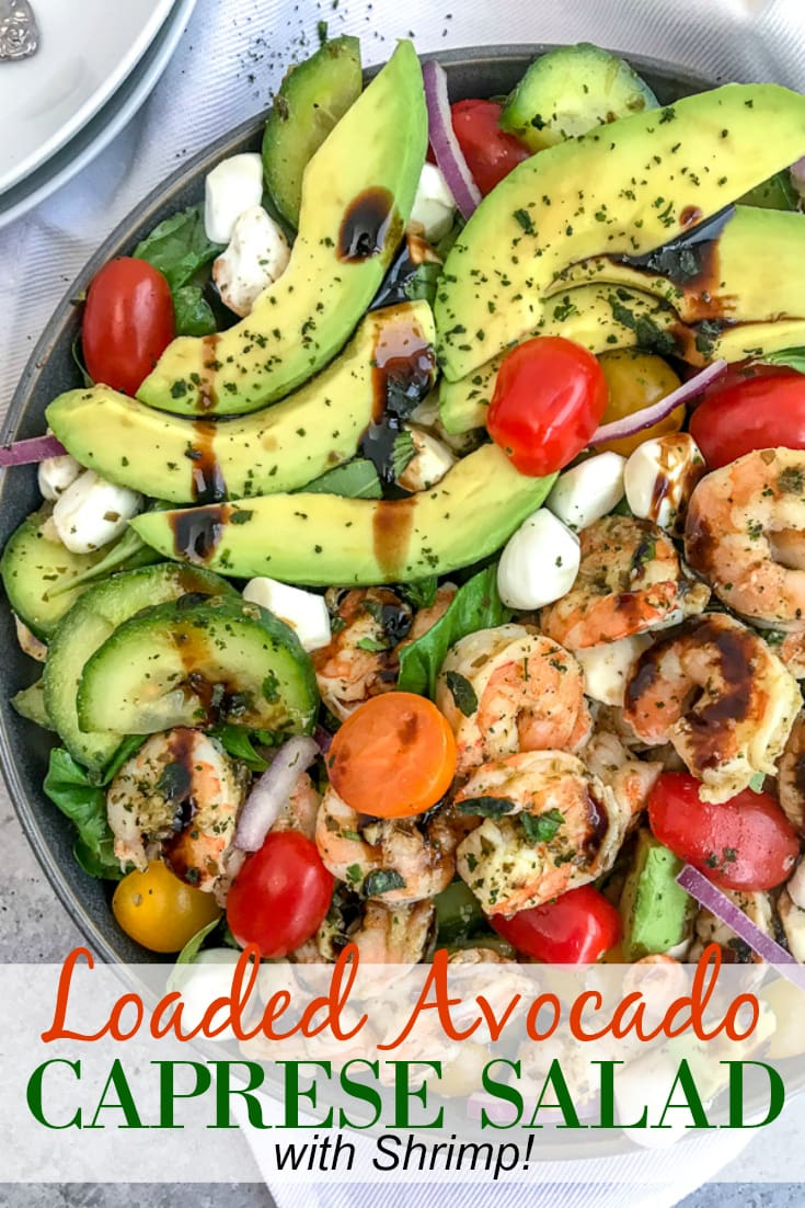 A light, refreshing salad that is perfect for any occasion. Loaded with fresh mozzarella, basil leaves, avocado slices, cherry tomatoes, cucumbers and tender shrimp - all tossed in a sweet balsamic glaze. Easy and bursting full of summertime flavors! #capresesalad #salad #shrimpsalad #summersalads | https://withpeanutbutterontop.com
