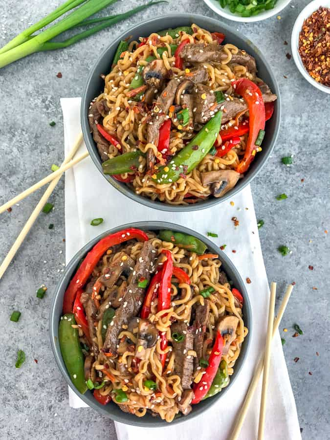 garlic beef and ramen stir fry  with peanut butter on top