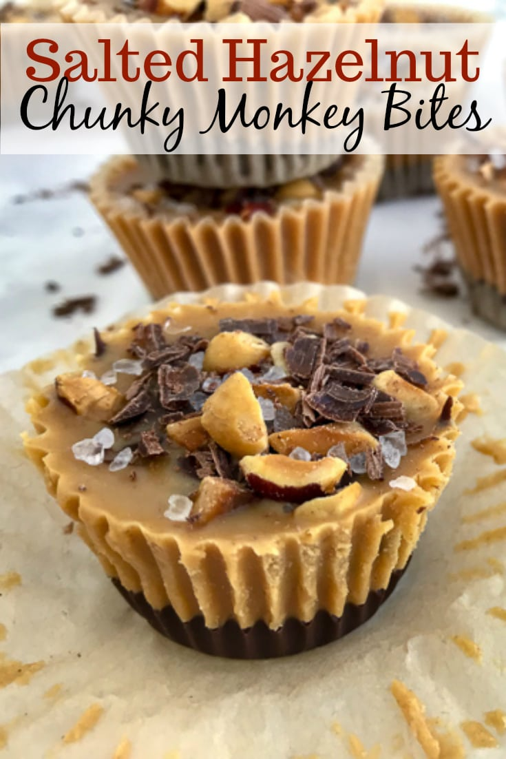 These bites are made with a handful of healthy ingredients, come together in 15 minutes, are kid-friendly and guaranteed to become your new go-to treat! Made with chocolate, bananas, peanut butter, coconut oil and hazelnuts - they are sure to be a hit! #chunkymonkey #frozenbites #chocolate #peanutbutter #bananabites #healthy | https://withpeanutbutterontop.com