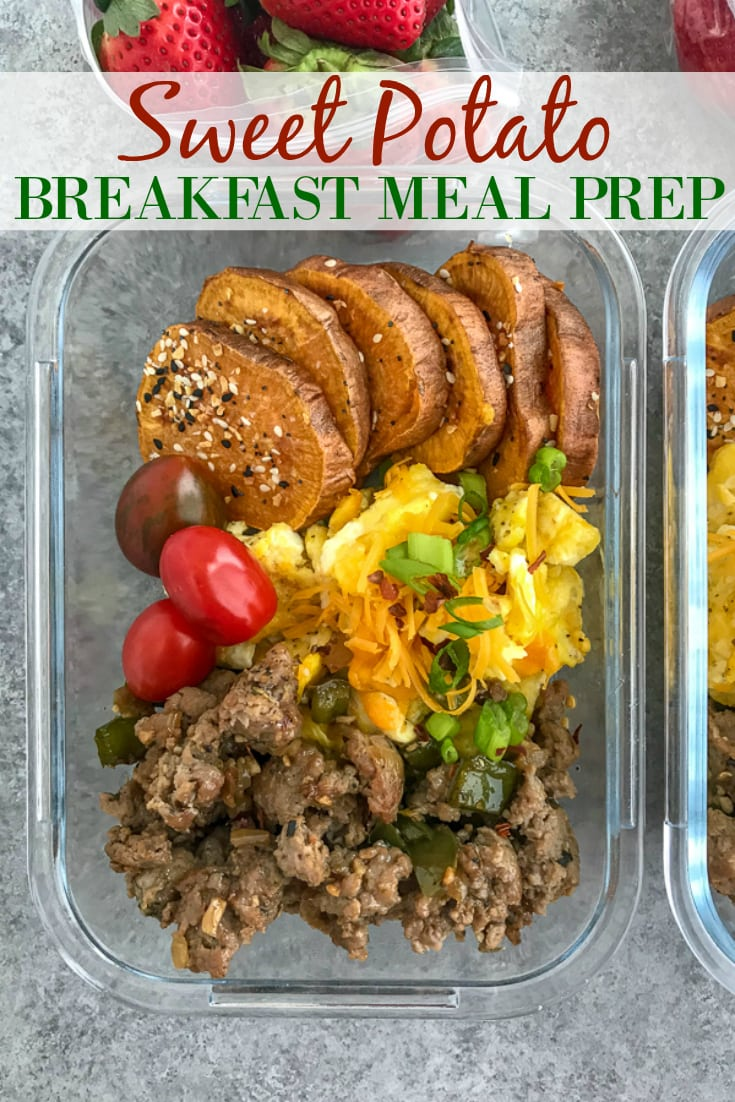 Sweet Potato Breakfast Meal Prep - a delicious, easy new meal to add to your weekly meal prep! Fluffy, cheesy eggs, ground turkey sausage and Everything Bagel sweet potato rounds. #mealprep #sweetpotatoes #breakfast #breakfastmealprep   https://withpeanutbutterontop.com