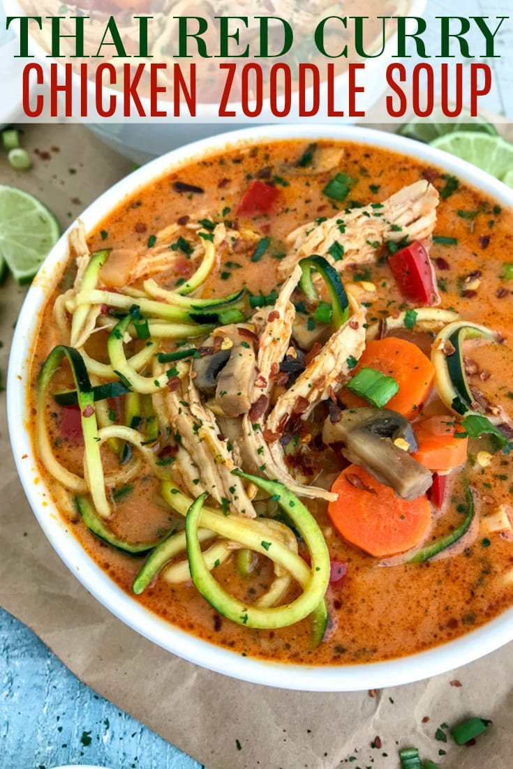 Learn how to make Thai easily and quickly at home with this ONE POT Thai Red Curry Chicken Zoodle Soup recipe! So much better than any takeout and you can control exactly what goes in it. Layers upon layers of delicious vegetables, spiralized zucchini, and tender, shredded chunks of chicken, all in a coconut red curry broth. Absolutely outstanding and delicious! #thai #takeout #lowcarb #soup | https://withpeanutbutterontop.com