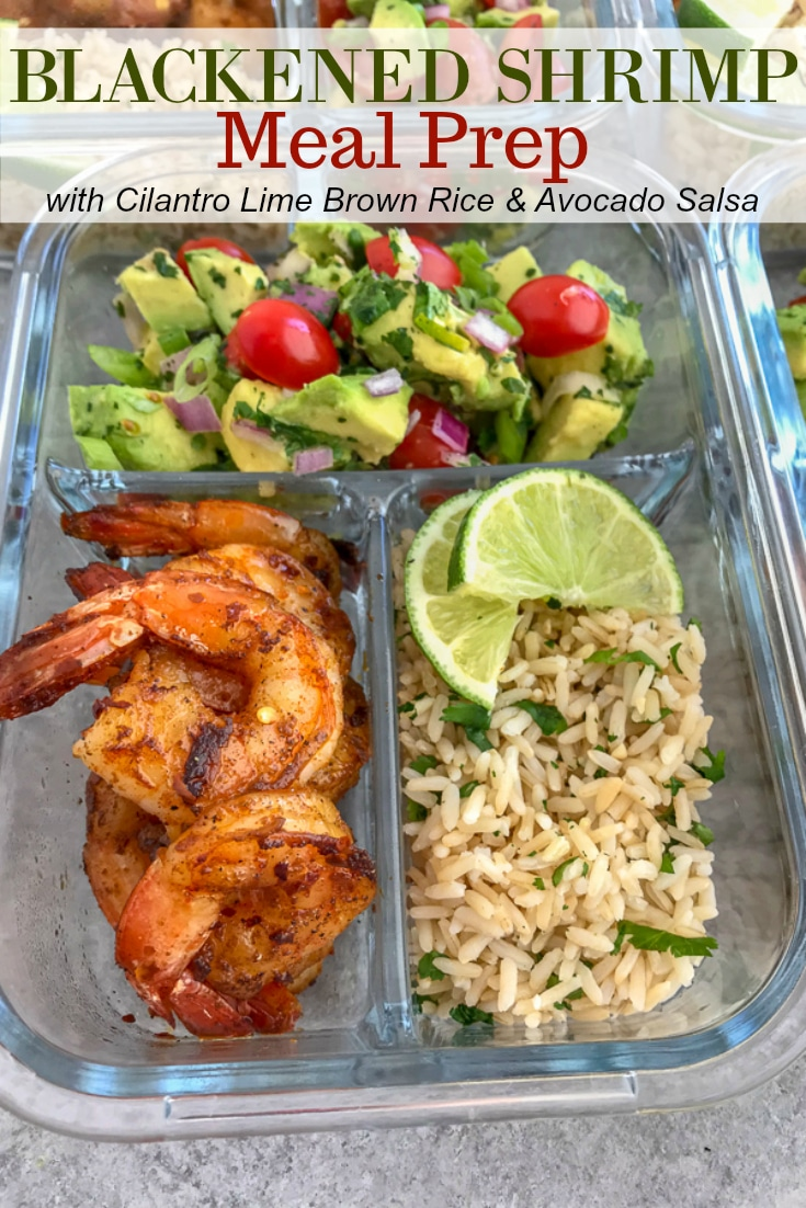 Step up your meal prep game with this super simple, healthy, and delicious Blackened Shrimp Meal Prep! Full of bold flavors and easy to put together. These are packed with blackened shrimp, cilantro lime brown rice, and an incredible avocado salsa. #mealprep #blackenedshrimp #blackenedshrimpmealprep #shrimp #healthy   https://withpeanutbutterontop.com